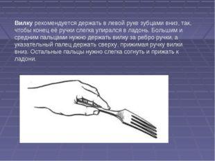 Вилку рекомендуется держать в левой руке зубцами вниз, так, чтобы конец её ру