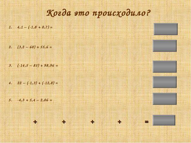 -0,54 -1,2 Когда это происходило? 1. 4,1 – (-1,8 + 0,7) = 2. (3,2 – 60) + 55,...