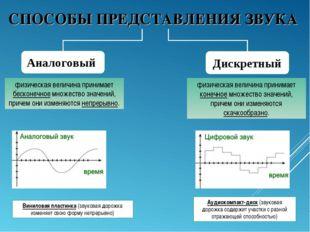 СПОСОБЫ ПРЕДСТАВЛЕНИЯ ЗВУКА Аналоговый Дискретный физическая величина принима