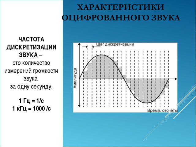 ЧАСТОТА ДИСКРЕТИЗАЦИИ ЗВУКА – это количество измерений громкости звука за одн...