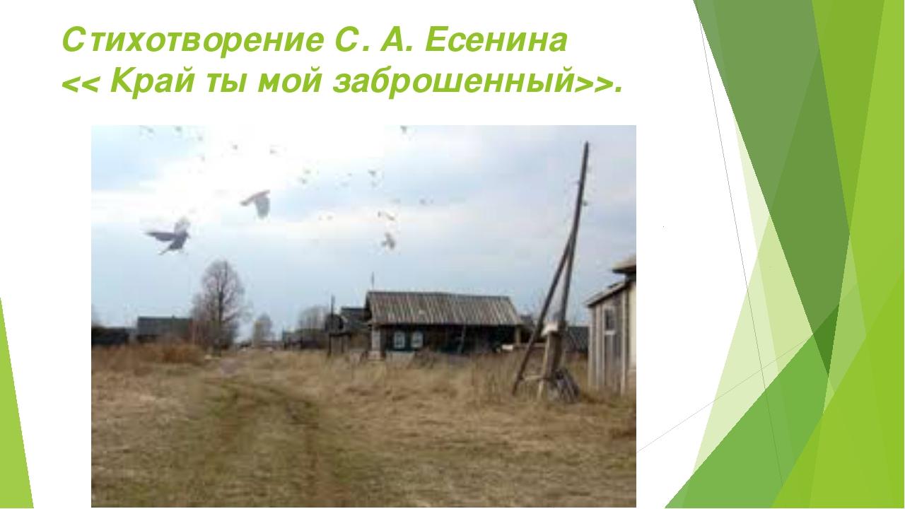 Стихотворение С. А. Есенина >.