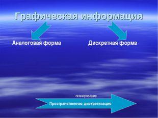 Графическая информация Аналоговая форма Дискретная форма Пространственная дис
