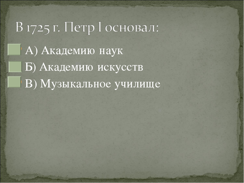 А) Академию наук Б) Академию искусств В) Музыкальное училище