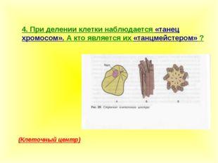 4. При делении клетки наблюдается «танец хромосом». А кто является их «танцме