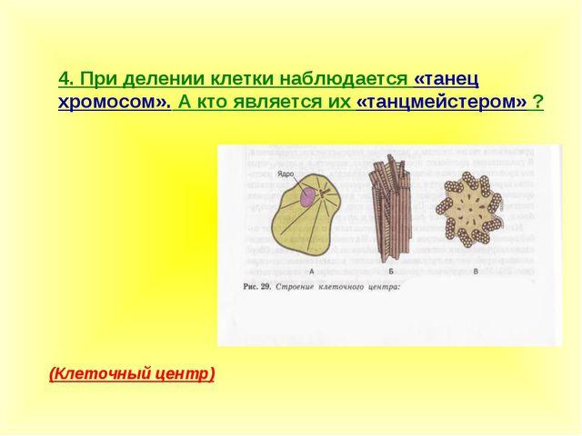 4. При делении клетки наблюдается «танец хромосом». А кто является их «танцме...