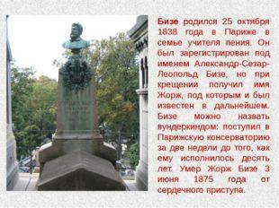 Бизе родился 25 октября 1838 года в Париже в семье учителя пения. Он был заре