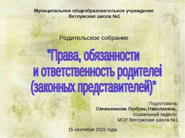 Муниципальное общеобразовательное учреждение Ветлужская школа №1 Подготовила:...