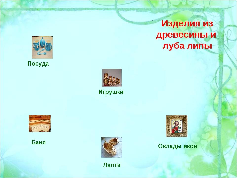 Изделия из древесины и луба липы Посуда Баня Лапти Игрушки Оклады икон