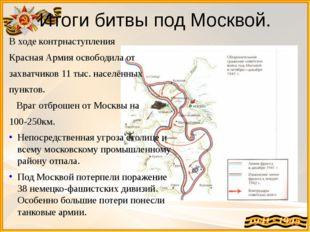 Итоги битвы под Москвой. В ходе контрнаступления Красная Армия освободила от