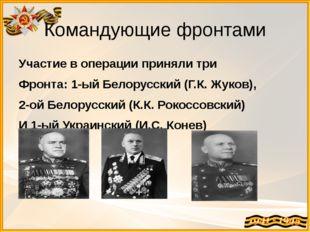 Командующие фронтами Участие в операции приняли три Фронта: 1-ый Белорусский