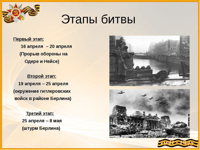 Этапы битвы Первый этап: 16 апреля – 20 апреля (Прорыв обороны на Одере и Ней...