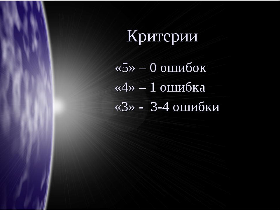 Критерии «5» – 0 ошибок «4» – 1 ошибка «3» - 3-4 ошибки