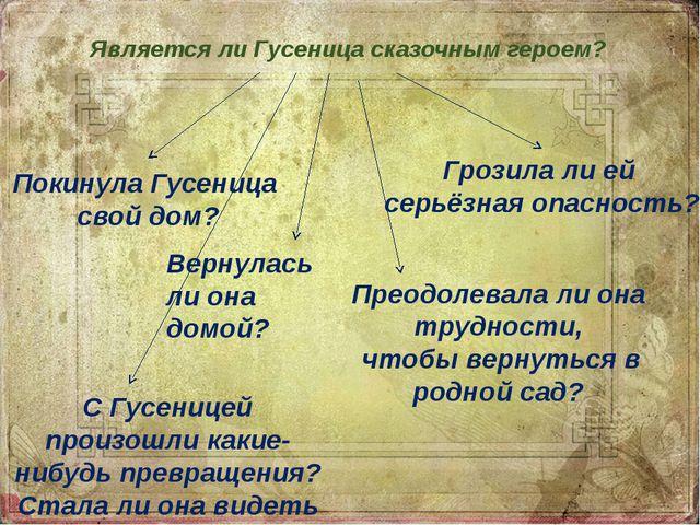 Является ли Гусеница сказочным героем? Грозила ли ей серьёзная опасность? Пре...