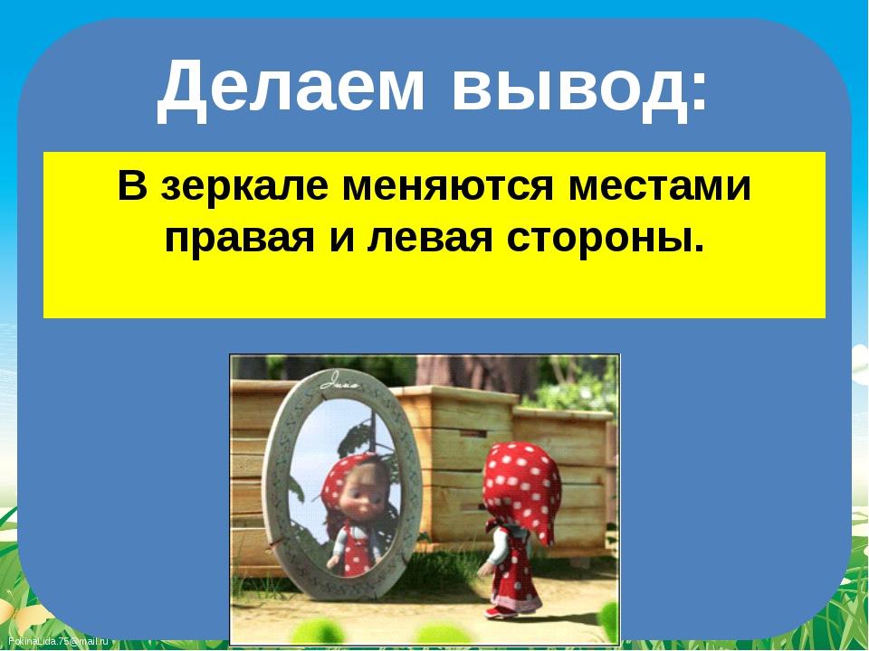 Делаем вывод: В зеркале меняются местами правая и левая стороны. FokinaLida.7...