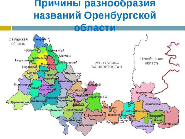 Причины разнообразия названий Оренбургской области