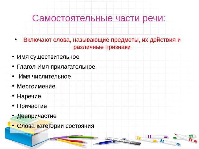 Самостоятельные части речи: Включают слова, называющие предметы, их действия...