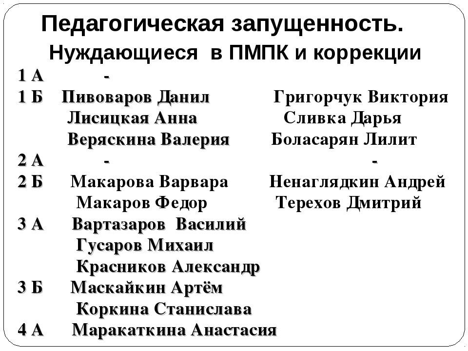 Педагогическая запущенность. Нуждающиеся в ПМПК и коррекции 1 А - 1 Б Пивова...