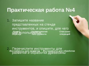 Практическая работа №4 Запишите название представленных на стенде инструменто