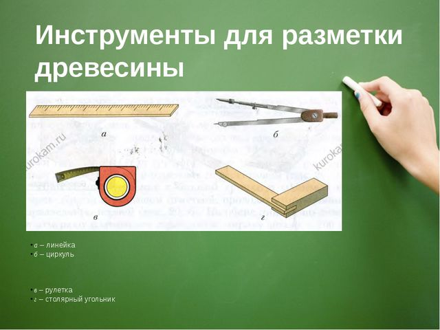Инструменты для разметки древесины а – линейка б – циркуль в – рулетка г – ст...