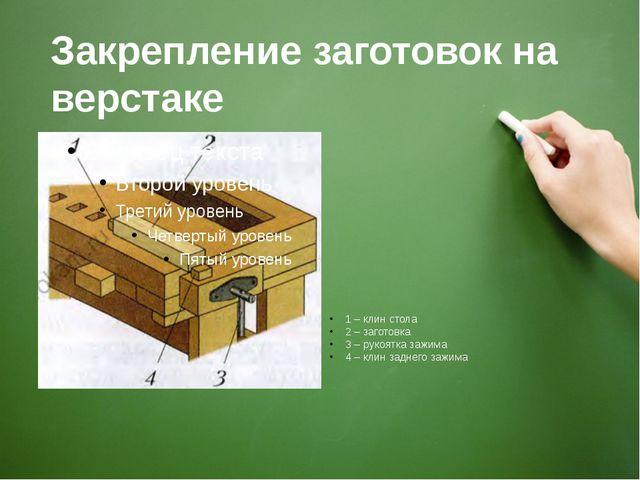 Закрепление заготовок на верстаке 1 – клин стола 2 – заготовка 3 – рукоятка з...