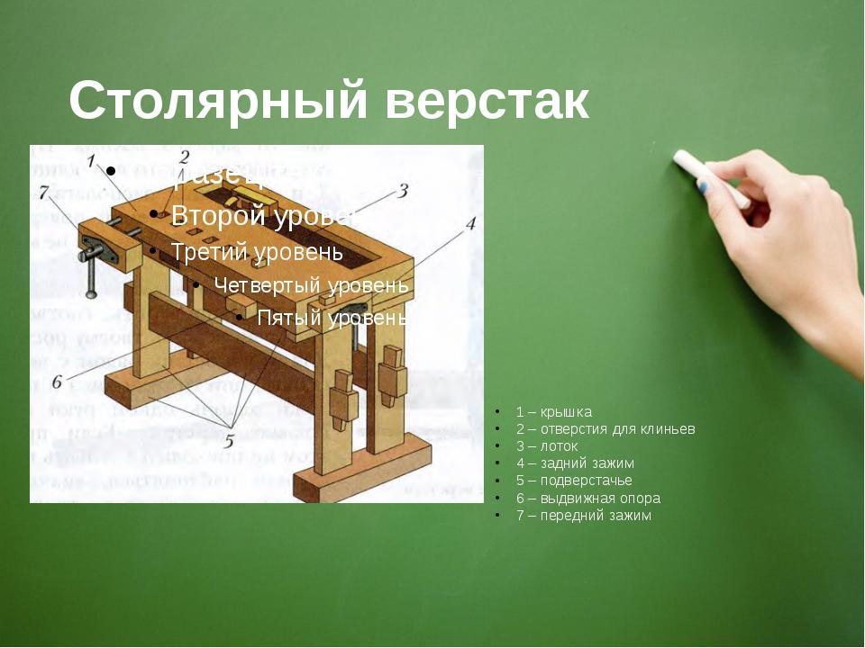 Столярный верстак 1 – крышка 2 – отверстия для клиньев 3 – лоток 4 – задний з...