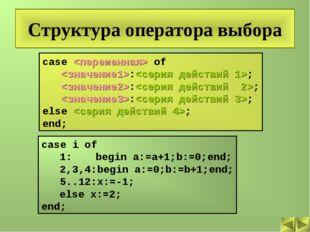 Структура оператора выбора case  of :; :; :; else ; end; case i of 1:begin