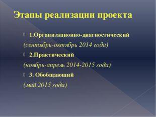 Этапы реализации проекта 1.Организационно-диагностический (сентябрь-октябрь 2