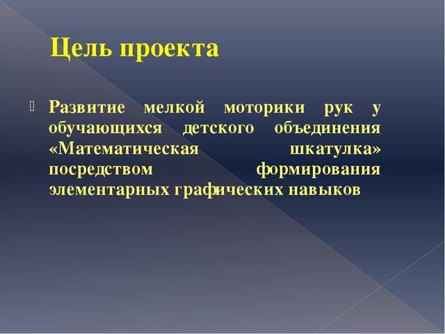 Цель проекта Развитие мелкой моторики рук у обучающихся детского объединения...