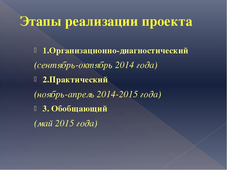 Этапы реализации проекта 1.Организационно-диагностический (сентябрь-октябрь 2...
