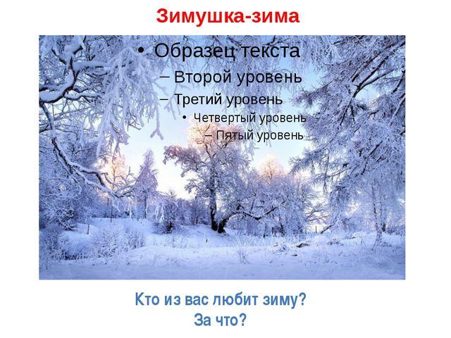 Зимушка-зима Кто из вас любит зиму? За что?