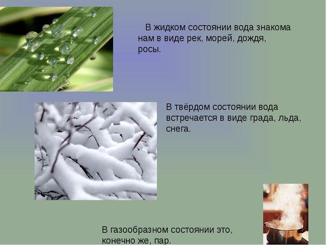 .  В жидком состоянии вода знакома нам в виде рек, морей, дождя, росы. В г...
