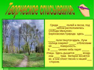 Среди _____ полей и лесов, под _____ небом расположилась слобода Маньково-Бе