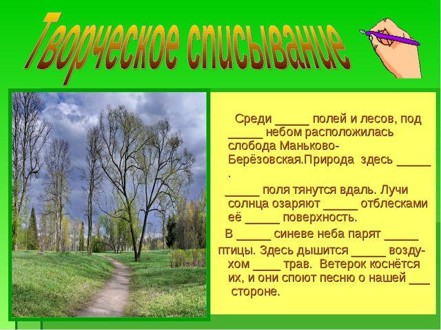 Среди _____ полей и лесов, под _____ небом расположилась слобода Маньково-Бе...