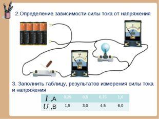2.Определение зависимости силы тока от напряжения 3. Заполнить таблицу, резул