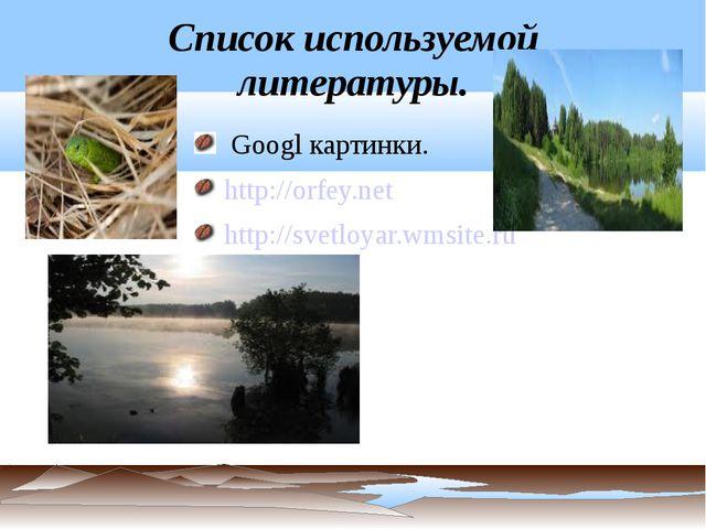 Список используемой литературы. Googl картинки. http://orfey.net http://svetl...