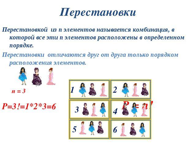 Перестановки Перестановкой из n элементов называется комбинация, в которой вс...