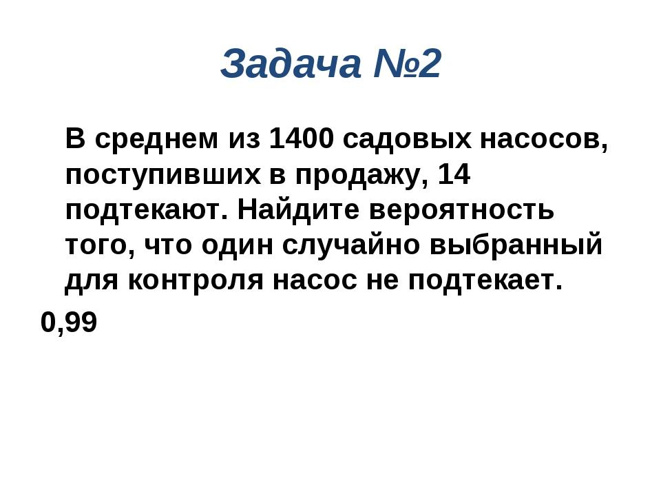 Задача №2 В среднем из 1400 садовых насосов, поступивших в продажу, 14 подте...