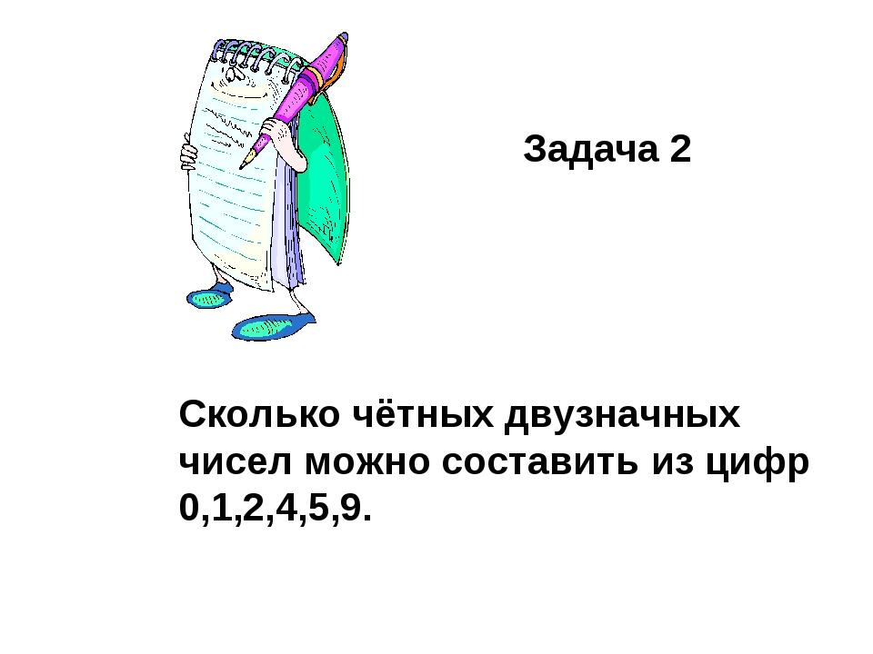 Задача 2 Сколько чётных двузначных чисел можно составить из цифр 0,1,2,4,5,9.