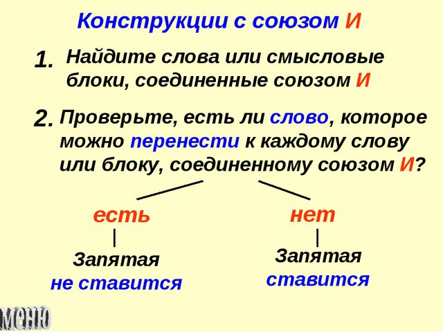 Конструкции с союзом И 1. Найдите слова или смысловые блоки, соединенные союз...