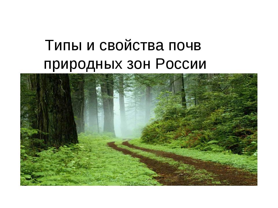Типы и свойства почв природных зон России