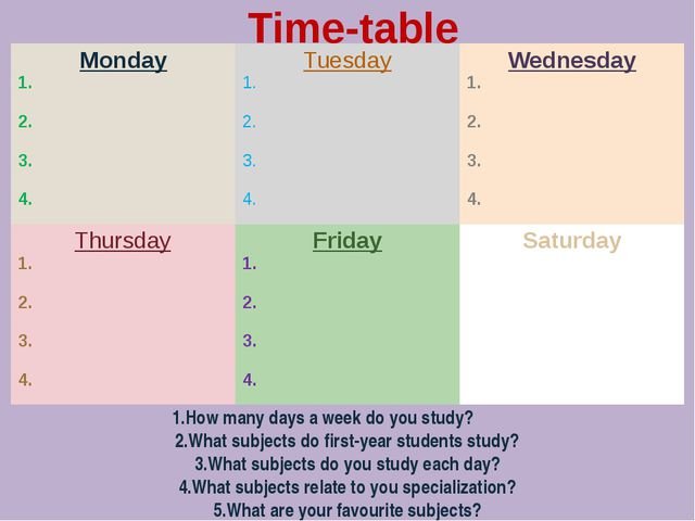 Time-table 1.How many days a week do you study? 2.What subjects do first-yea...