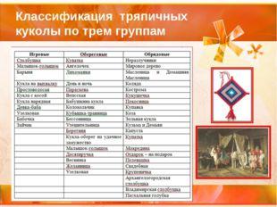 Классификация тряпичных куколы по трем группам