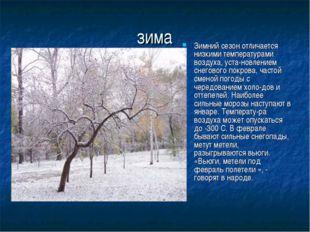 зима Зимний сезон отличается низкими температурами воздуха, установлением сн