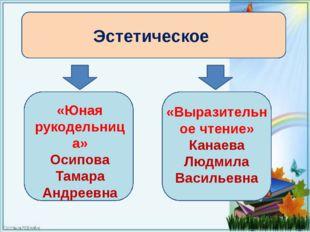 Эстетическое «Юная рукодельница» Осипова Тамара Андреевна «Выразительное чте
