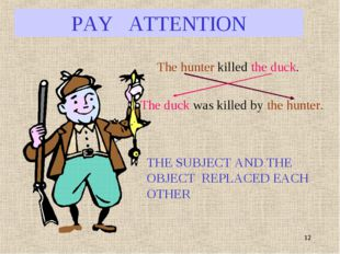 * PAY ATTENTION The hunter killed the duck. The duck was killed by the hunter