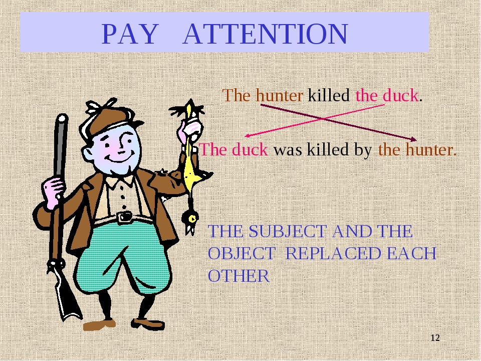 * PAY ATTENTION The hunter killed the duck. The duck was killed by the hunter...