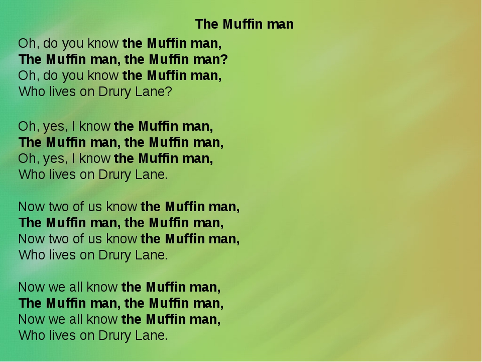 The Muffin man Oh, do you know the Muffin man, The Muffin man, the Muffin ma...