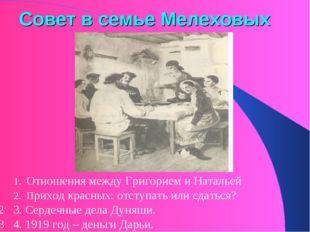 Совет в семье Мелеховых 1. Отношения между Григорием и Натальей 2. Приход кра
