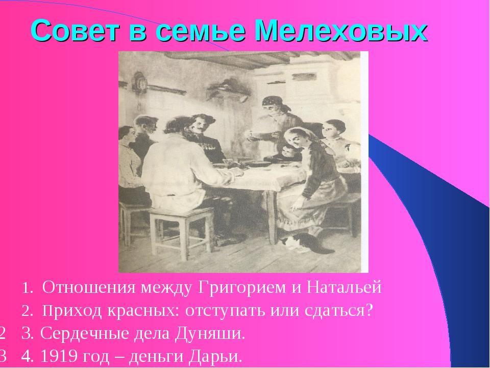 Совет в семье Мелеховых 1. Отношения между Григорием и Натальей 2. Приход кра...