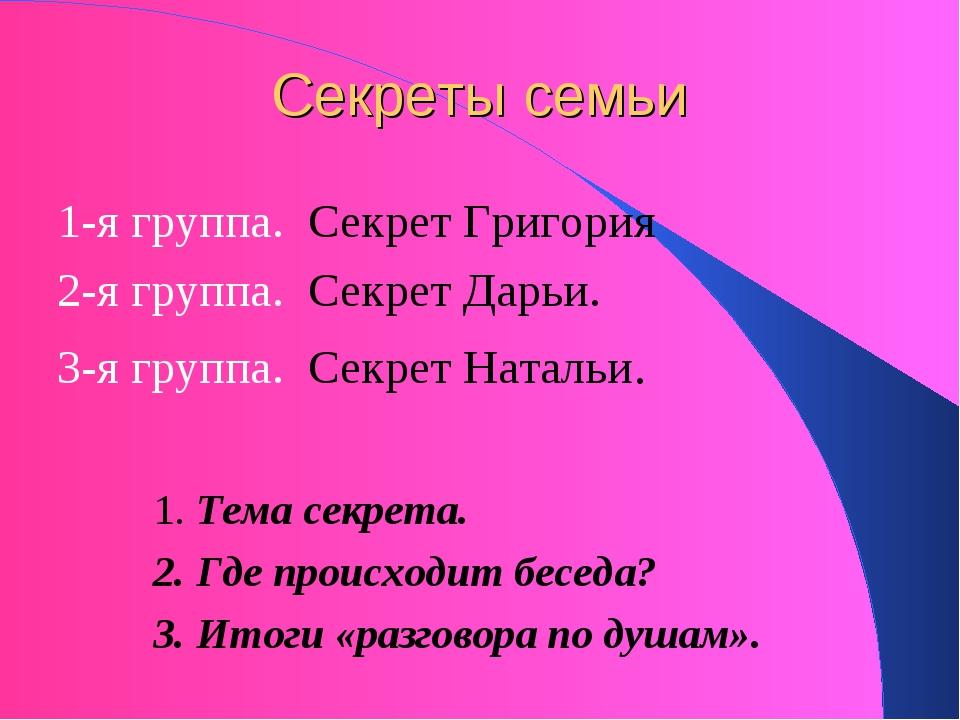 Секреты семьи 1-я группа. Секрет Григория 2-я группа. Секрет Дарьи. 3-я групп...